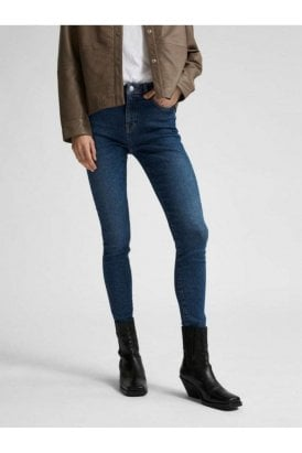 Selected Femme Slfsophia Mw Skinny Dark Blue Denim