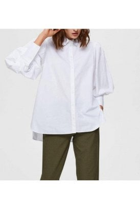 Selected Femme Slfholly Ls Shirt Bright White