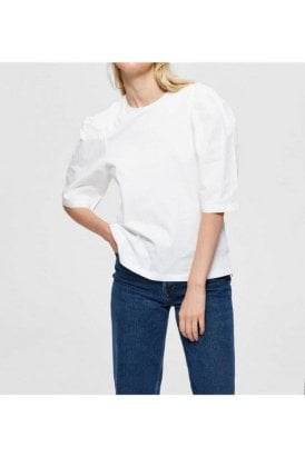 Selected Femme Slfverona 2/4 Puff Sleeve Tee Bright White